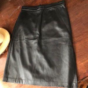 BCBG Collection! leather side-slit pencil skirt